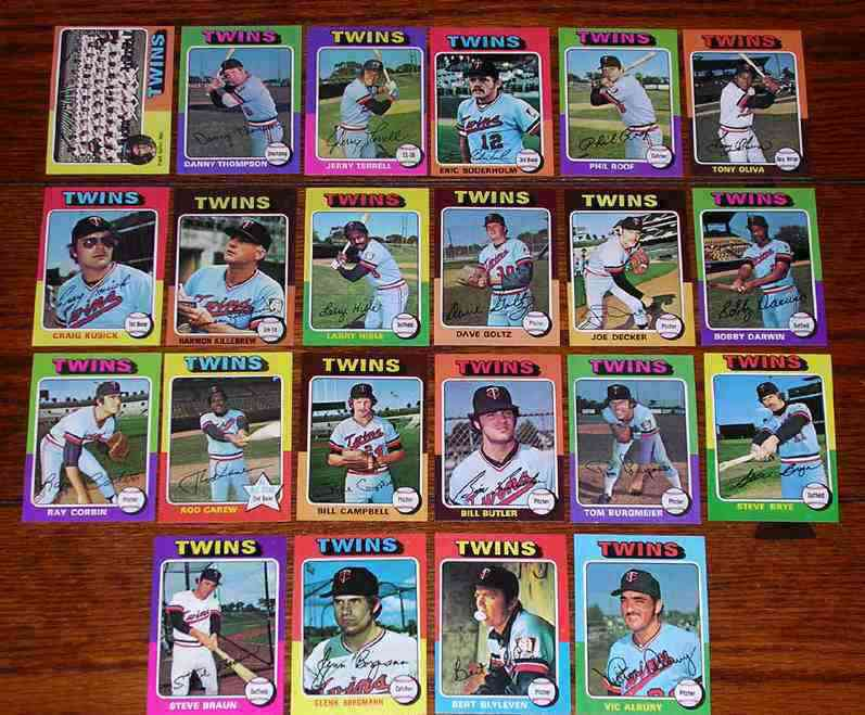 TWINS (21/22) - 1975 Topps partial TEAM SET Baseball cards value