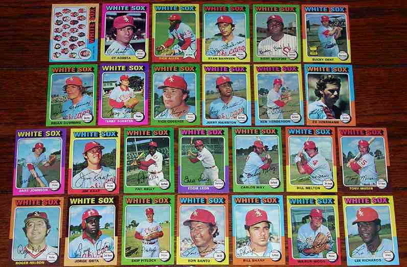 WHITE SOX (26) - 1975 Topps COMPLETE TEAM SET Baseball cards value