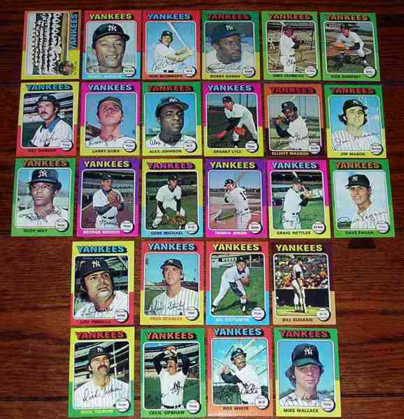 YANKEES - 1975 Topps COMPLETE TEAM SET (26 cards) Baseball cards value
