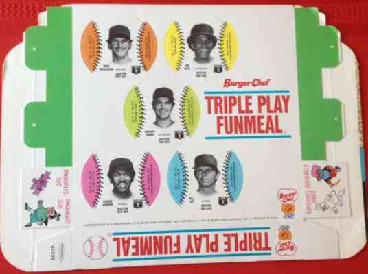 Red Sox - 1977 Burger Chef UNFOLDED Funmeal Box COMPLETE TEAM SET Baseball cards value