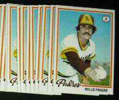 1978 Topps #140 Rollie Fingers - LOT of (10) (Padres) Baseball cards value