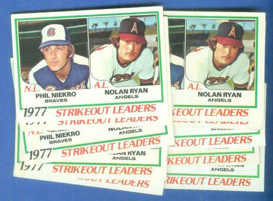 1978 Topps #206 League Leaders - Lot of (10) with Nolan Ryan/Phil Niekro Baseball cards value