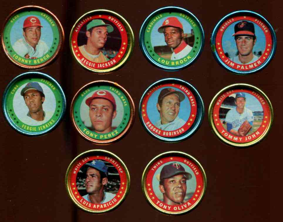 1971 Topps COINS  - Lot of (54) different Baseball cards value