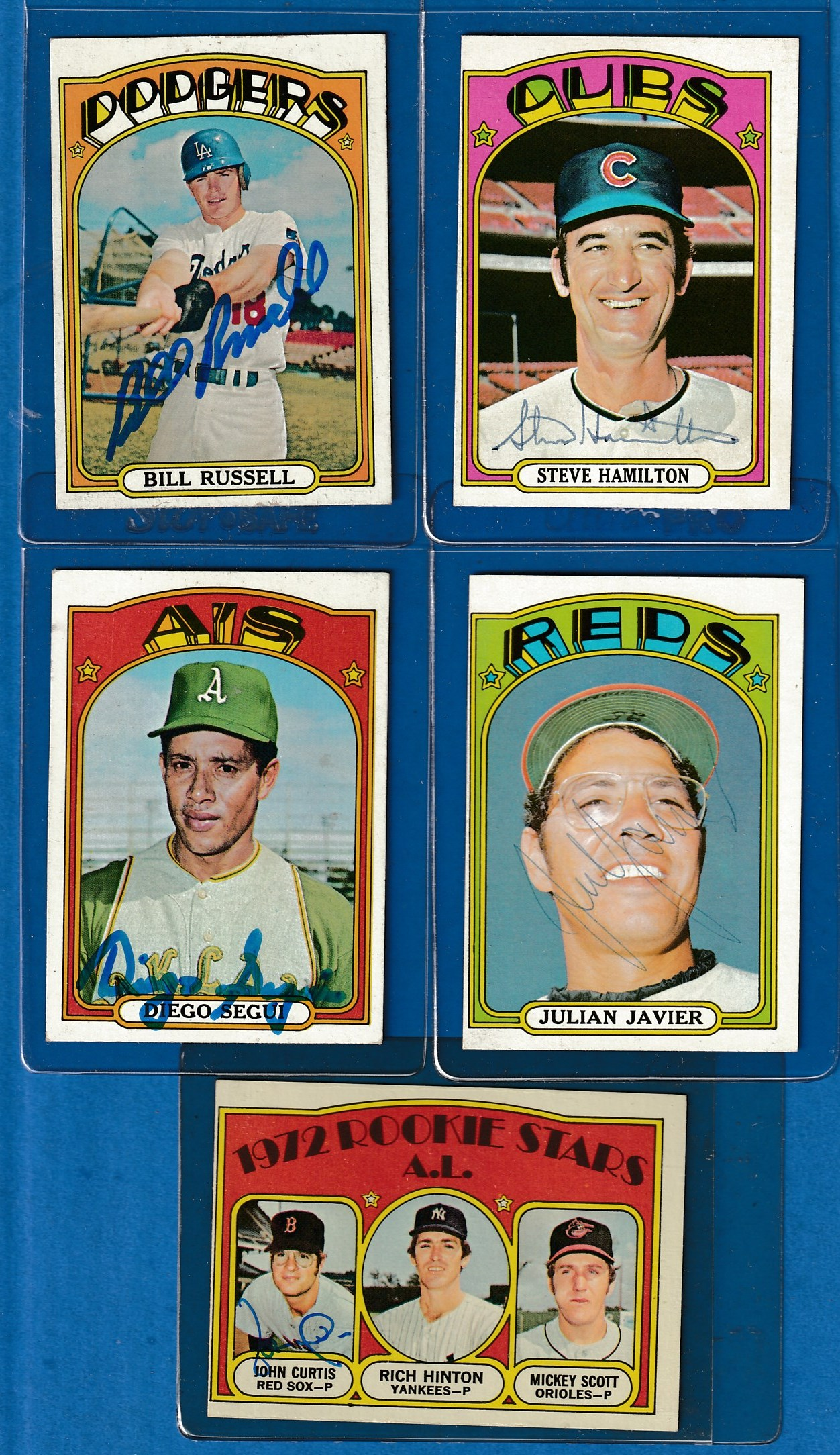 Autographed 1972 Topps 736 Bill Russell Scarce High Dodgers