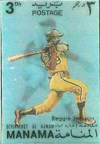 REGGIE JACKSON/Steve Carlton - 1972 MANAMA Official Postage Stamp (A's) Baseball cards value