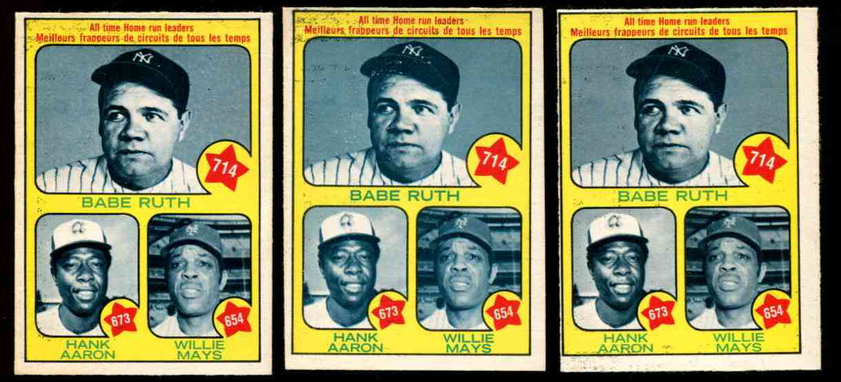 1973 O-Pee-Chee/OPC #..1 All-Time HOME RUN Leaders [#b] RUTH,AARON & MAYS Baseball cards value