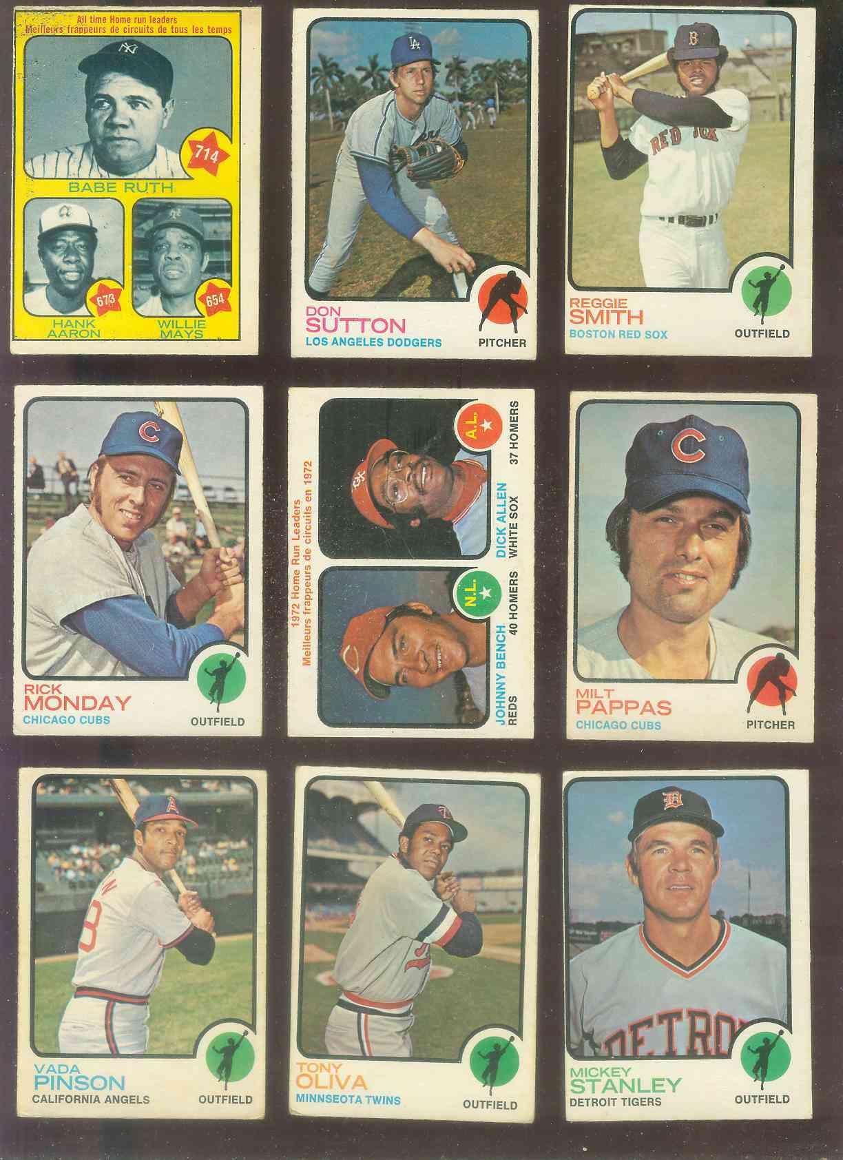 1973 O Pee Chee/OPC #.62 Home Run Leaders [#x] (Johnny Bench/Richie Allen)  Baseball Card