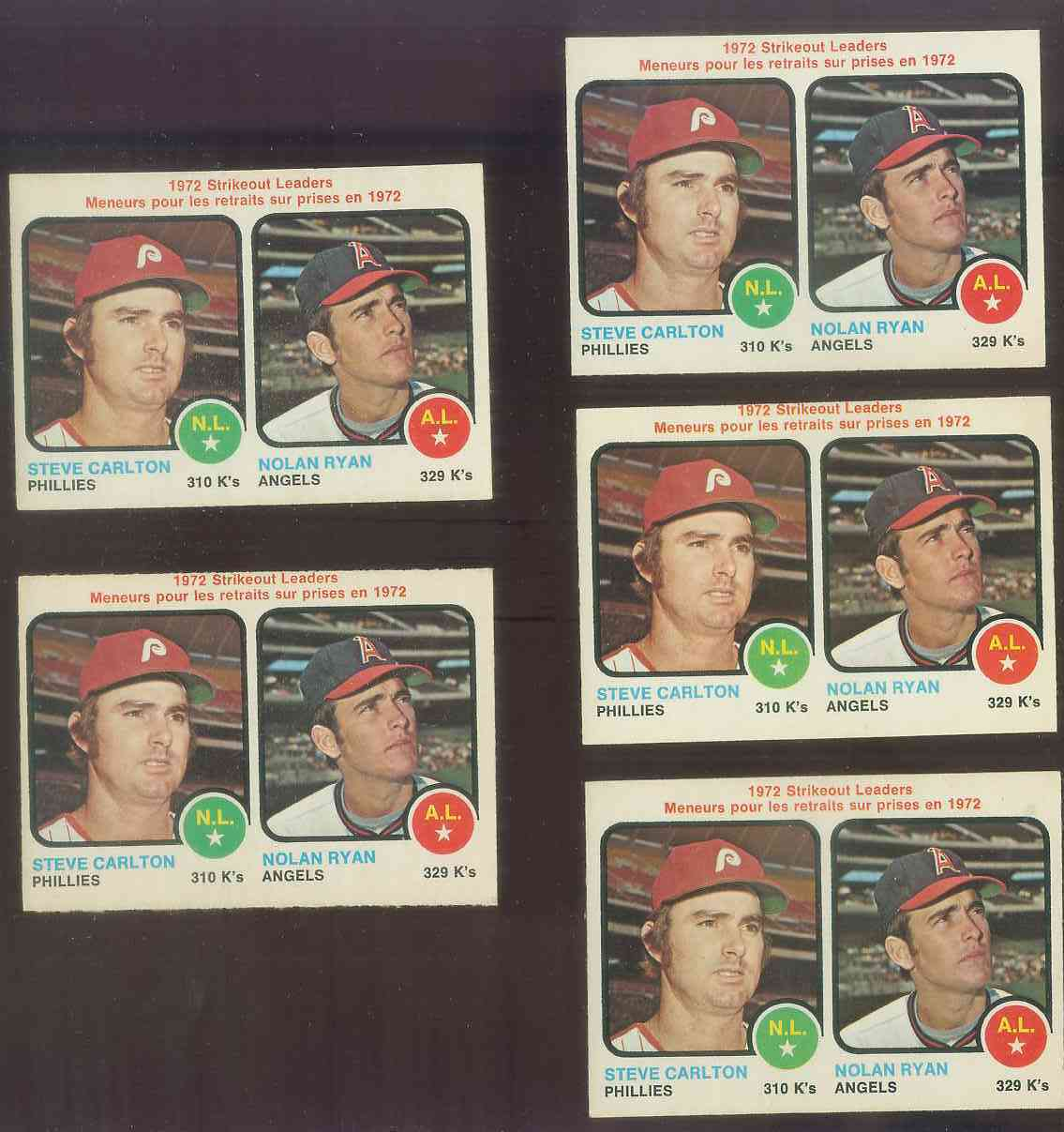 1973 O-Pee-Chee/OPC #.67 Strikeout Leaders [#a] (Nolan Ryan/Steve Carlton) Baseball cards value