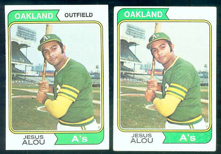 1974 Topps #654 Jesus Alou (ERROR Variation-no position) (A's) Baseball cards value