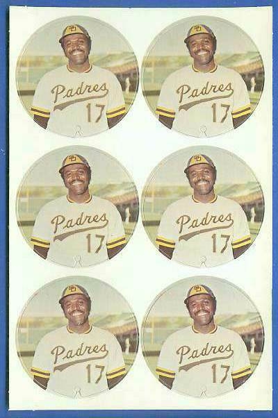 1974 McDonald's Padres -  COMPLETE SHEET of (6) Nate Colbert discs Baseball cards value