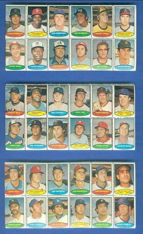 1974 Topps STAMPS SHEET #.1 NOLAN RYAN, HANK AARON, Johnny Bench Baseball cards value