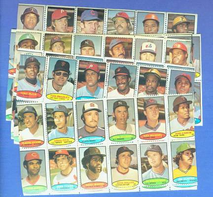 1974 Topps STAMPS - LOT of (10) diff. COMPLETE Sheets (120 TOTAL STAMPS !) Baseball cards value
