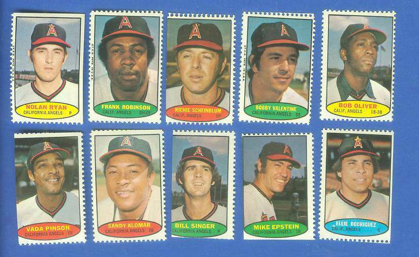 Angels - 1974 Topps Stamps COMPLETE TEAM SET (10 stamps) Baseball cards value
