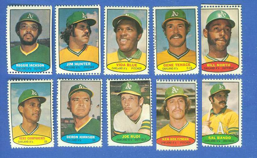 A's - 1974 Topps Stamps COMPLETE TEAM SET (10 stamps) Baseball cards value