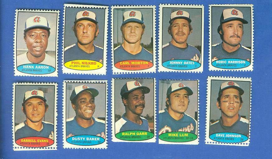 Braves - 1974 Topps Stamps COMPLETE TEAM SET (10 stamps) Baseball cards value