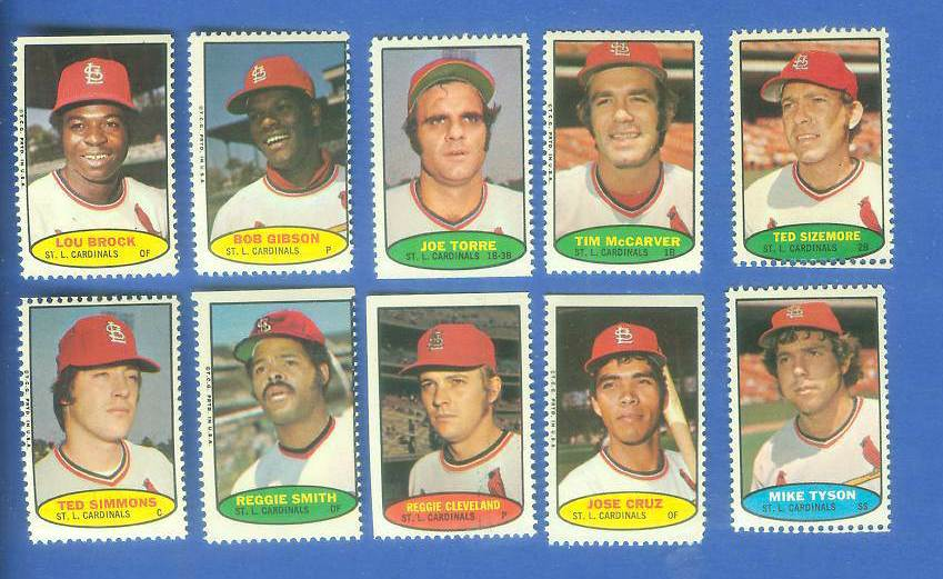 Cardinals - 1974 Topps Stamps COMPLETE TEAM SET (10 stamps) Baseball cards value