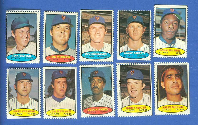 Mets - 1974 Topps Stamps COMPLETE TEAM SET (10 stamps) Baseball cards value