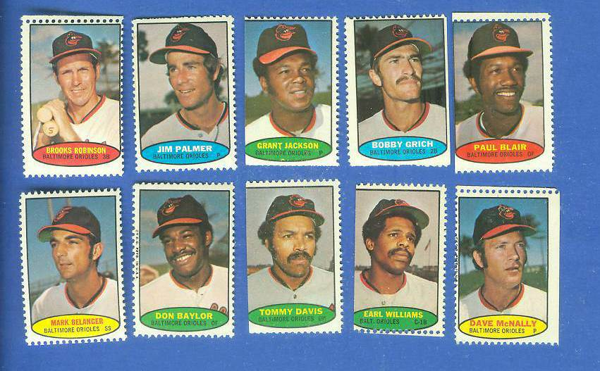Orioles - 1974 Topps Stamps COMPLETE TEAM SET (10 stamps) Baseball cards value