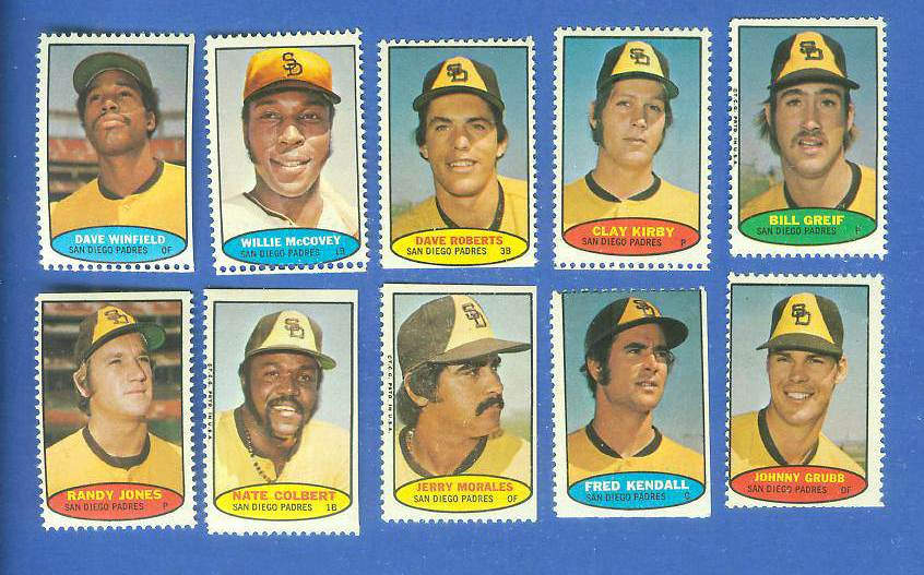 Padres - 1974 Topps Stamps COMPLETE TEAM SET (10 stamps) Baseball cards value
