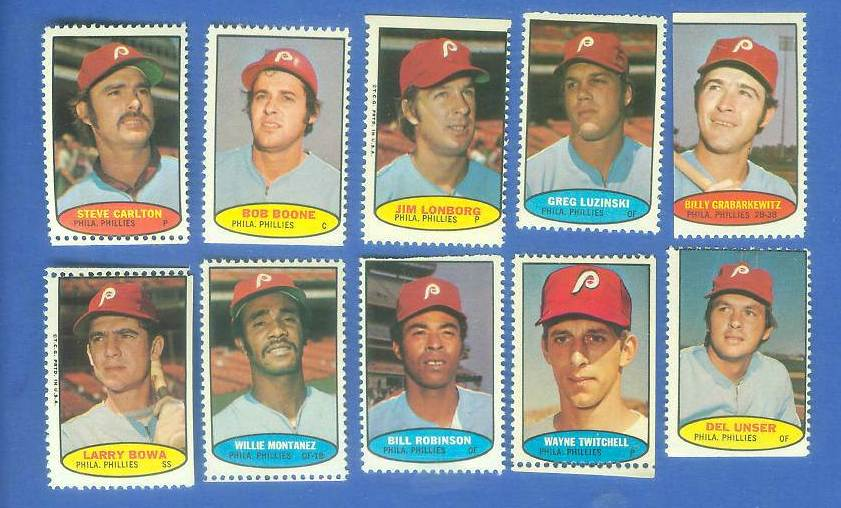 Phillies - 1974 Topps Stamps COMPLETE TEAM SET (10 stamps) Baseball cards value
