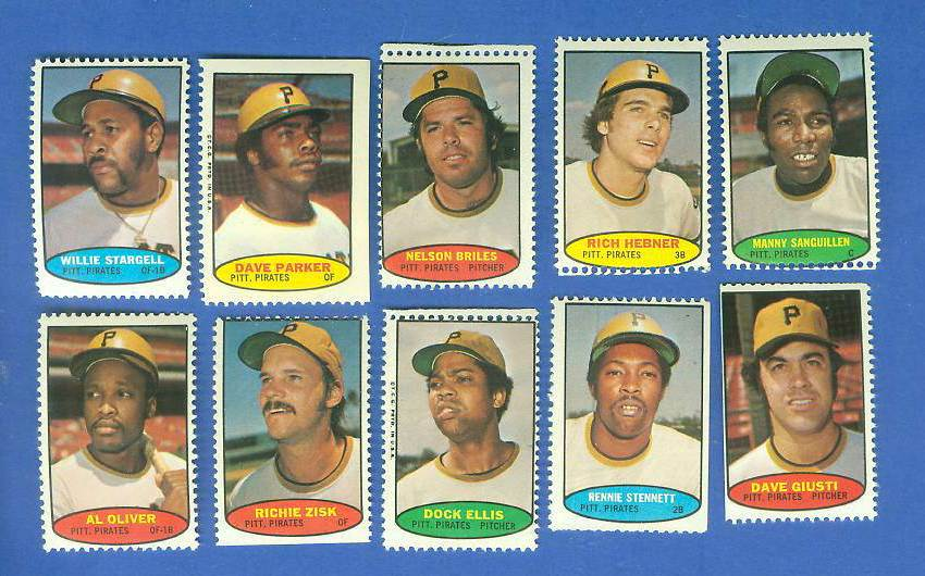 Pirates - 1974 Topps Stamps COMPLETE TEAM SET (10 stamps) Baseball cards value