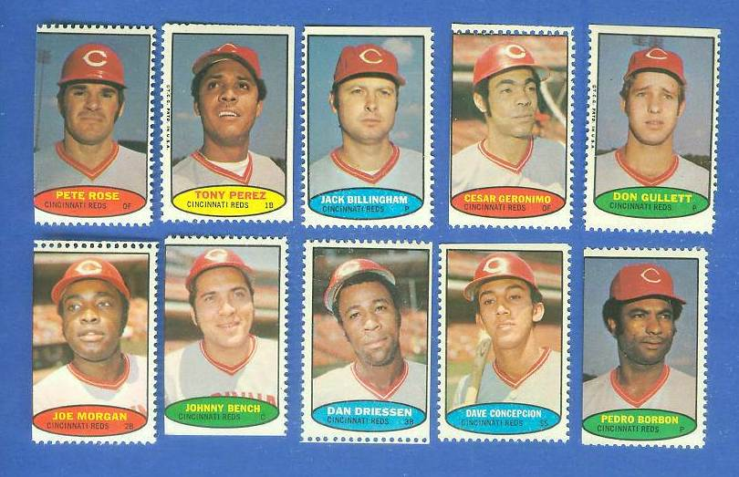 Reds - 1974 Topps Stamps COMPLETE TEAM SET (10 stamps) Baseball cards value