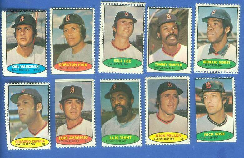 Red Sox - 1974 Topps Stamps COMPLETE TEAM SET (10 stamps) Baseball cards value