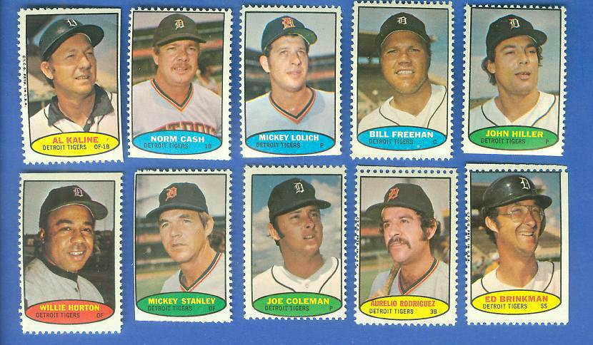 Tigers - 1974 Topps Stamps COMPLETE TEAM SET (10 stamps) Baseball cards value