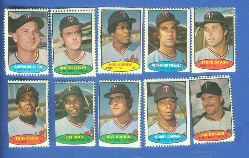 Twins - 1974 Topps Stamps COMPLETE TEAM SET (10 stamps) Baseball cards value