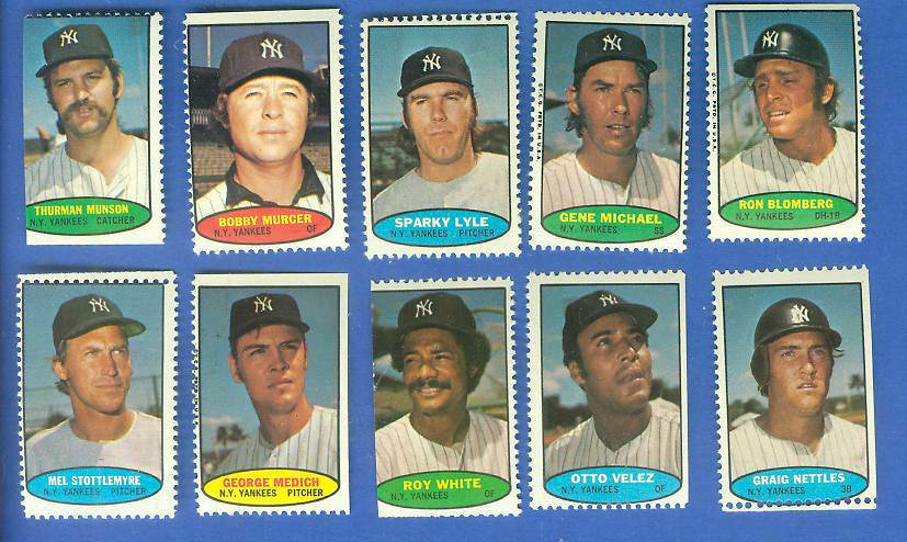 Yankees - 1974 Topps Stamps COMPLETE TEAM SET (10 stamps) Baseball cards value