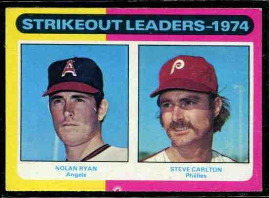 1975 Topps #312 Strikeout Leaders [#x] (Nolan Ryan/Steve Carlton) Baseball cards value