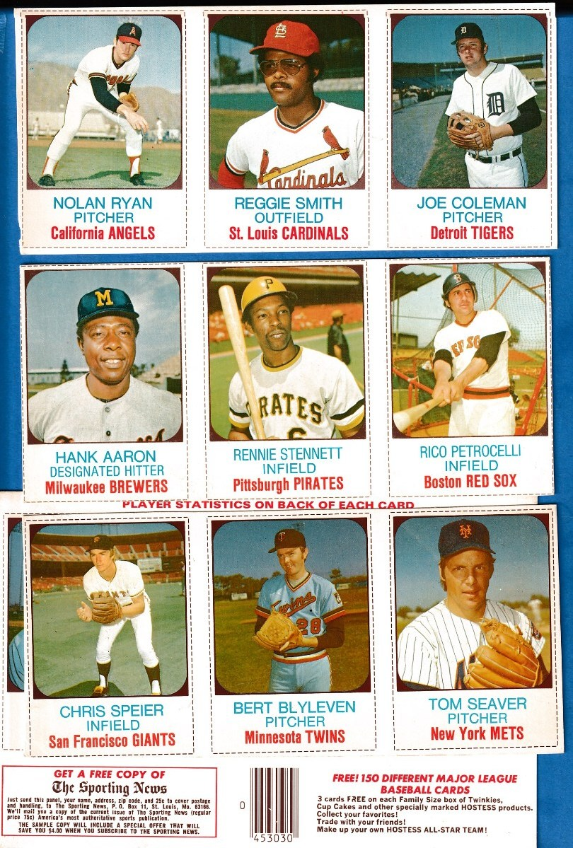 1975 Hostess  -  Lot (16) diff. PANELS! 10 w/HALL-OF-FAMERS:Ryan,Aaron !!! Baseball cards value