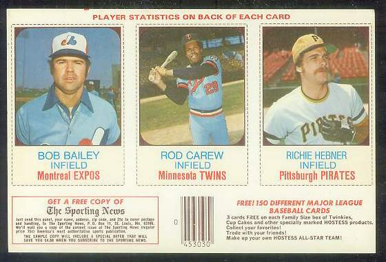 1975 Hostess PANEL  w/Ads #.55-56-57 Rod Carew Baseball cards value