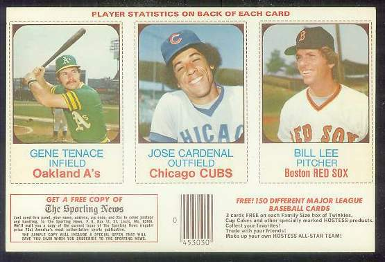 1975 Hostess PANEL  w/Ads #.64-65-66 Gene Tenace Baseball cards value