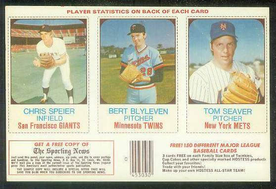 1975 Hostess PANEL  w/Ads #.73-74-75 Tom Seaver Baseball cards value