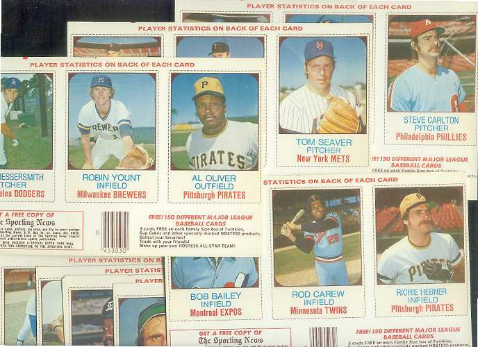 1975 Hostess  - Lot (7) diff. COMPLETE PANELS (3  w/HALL-OF-FAMERS !!!) Baseball cards value