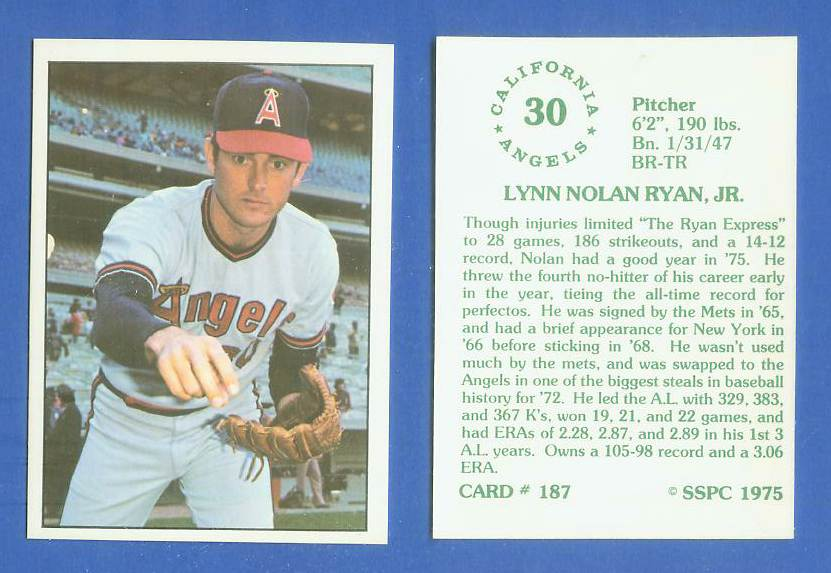 1975 SSPC #187 Nolan Ryan Baseball cards value