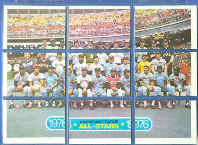 1977 Topps Cloth Stickers #NN.A COMPLETE A.L. All-Stars Puzzle (9-cards) Baseball cards value