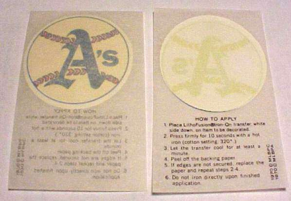 1970 Kellogg's A's Team Logo Iron-On Transfer Baseball cards value