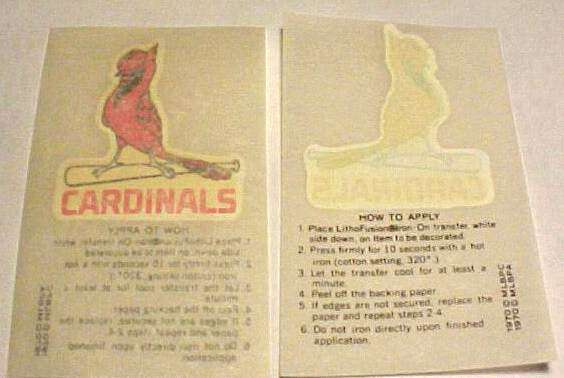 1970 Kellogg's Cardinals Team Logo Iron-On Transfer Baseball cards value