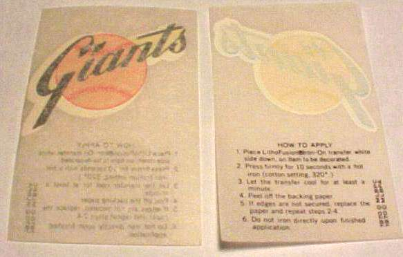 1970 Kellogg's Giants Team Logo Iron-On Transfer Baseball cards value