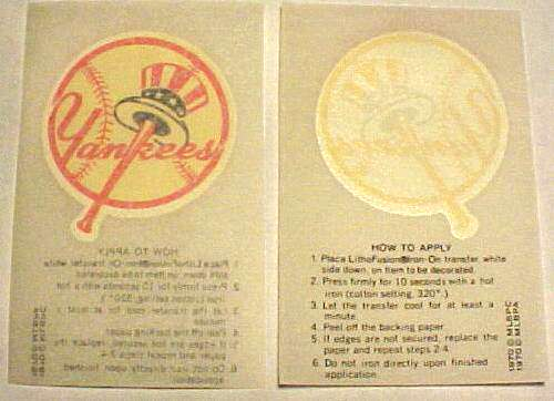 1970 Kellogg's Yankees Team Logo Iron-On Transfer Baseball cards value