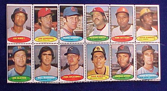 1974 Topps STAMPS SHEET #.5 Dave Parker ROOKIE, Reggie Smith, Jim Lonborg Baseball cards value