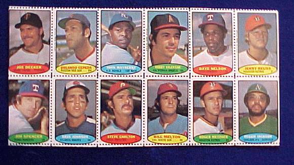 1974 Topps STAMPS SHEET #.8 Steve Carlton, Reggie Jackson, Orlando Cepeda Baseball cards value