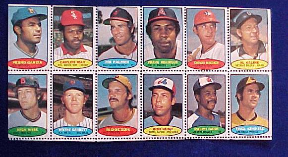 1974 Topps STAMPS SHEET #10 Jim Palmer, Frank Robinson, Al Kaline Baseball cards value