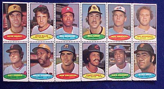1974 Topps STAMPS SHEET #12 Willie Stargell, Elias Sosa, Dave Giusti Baseball cards value