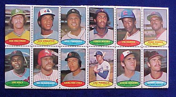 1974 Topps STAMPS SHEET #14 Fergie Jenkins, Carlton Fisk, Lou Piniella Baseball cards value