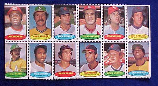 1974 Topps STAMPS SHEET #15 DAVE WINFIELD ROOKIE, Joe Morgan, Gene Tenace Baseball cards value