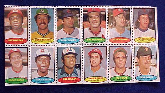 1974 Topps STAMPS SHEET #16 HANK AARON, Joe Morgan, Johnny Bench Baseball cards value