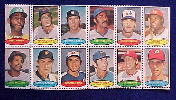 1974 Topps STAMPS SHEET #17 Sparky Lyle, Billy Williams, Lee May Baseball cards value